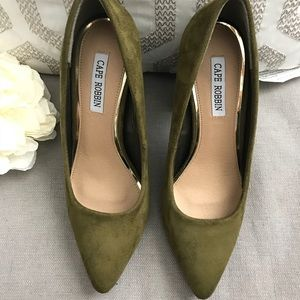 Olive Chunky Heel Pumps